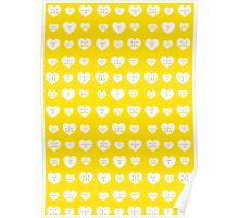 Yellow Valentines Heart Pattern Poster
