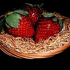 Three Strawberries by LeftHandPrints