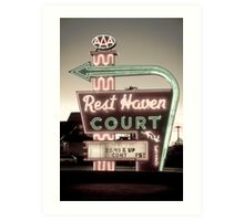 Route 66. Rest Haven Court Motel. Springfield. (Alan Copson ©) Art Print