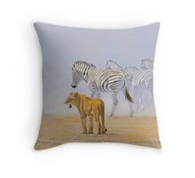 Lion and Zebra - South West Africa Throw Pillow