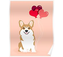Corgi Heart Balloon - Love Valentines Day Cute Dog Poster