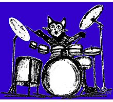 Drummer Cat Photographic Print