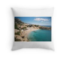Azure waters of the Calanque de Marseilleveyre bays  Throw Pillow