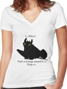 toothless> Women's Fitted V-Neck T-Shirt