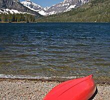 Boat at Two Medicine Lake, Glacier National Park by Gary Lengyel