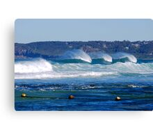 Waves Rolling in Unison - Bar Beach Newcastle NSW Canvas Print