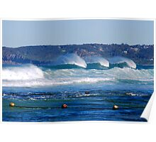 Waves Rolling in Unison - Bar Beach Newcastle NSW Poster