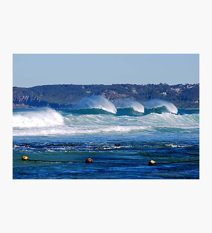 Waves Rolling in Unison - Bar Beach Newcastle NSW Photographic Print
