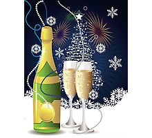 Card with champagne 3 Photographic Print