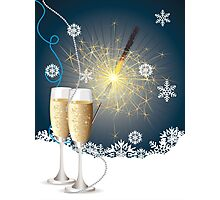 Card with champagne 4 Photographic Print