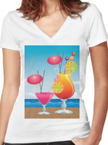 Cocktail on the beach 3 Women's Fitted V-Neck T-Shirt