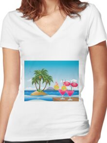 Cocktail on the beach 6 Women's Fitted V-Neck T-Shirt