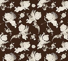 Cute Victorian Angels on chocolate Background. by Kimazo