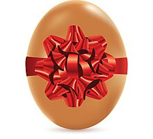 Brown Egg with Bow Photographic Print