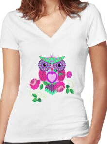 Cute Valentine's flower power Owl with roses Women's Fitted V-Neck T-Shirt