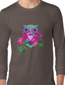 Cute Valentine's flower power Owl with roses Long Sleeve T-Shirt