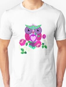 Cute Valentine's flower power Owl with roses Unisex T-Shirt