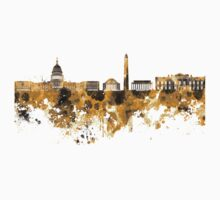 Washington DC skyline in orange watercolor on white background  One Piece - Long Sleeve