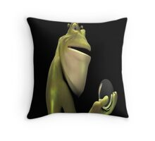 Frog Man With Egg Throw Pillow