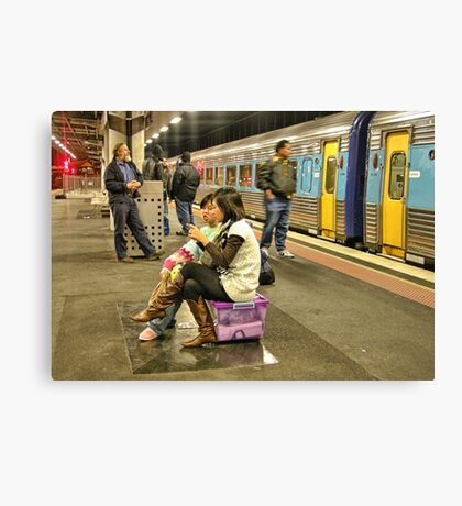 Melbourne, Southern Cross Train Station at night Canvas Print