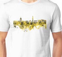 Washington DC skyline in yellowe watercolor on white background  Unisex T-Shirt