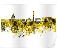 Washington DC skyline in yellowe watercolor on white background  Poster