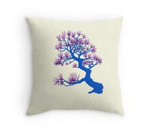 Blue Pine Bonsai (Cream Background) Throw Pillow