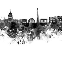 Washington DC skyline in black watercolor on white background  by paulrommer
