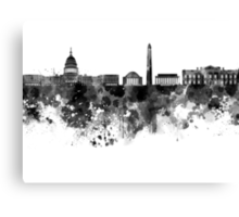 Washington DC skyline in black watercolor on white background  Canvas Print