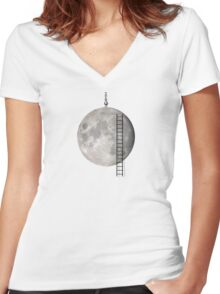 I'll Take You To The Moon Women's Fitted V-Neck T-Shirt