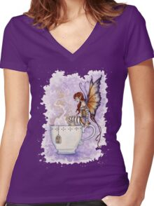 Warm Toes Tea Faery Women's Fitted V-Neck T-Shirt