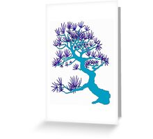 Light Blue Pine Bonsai Greeting Card