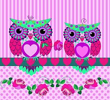 Flower power Valentine Owls with roses, hearts and patterns by walstraasart