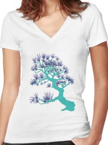 Turquoise Pine Bonsai Women's Fitted V-Neck T-Shirt
