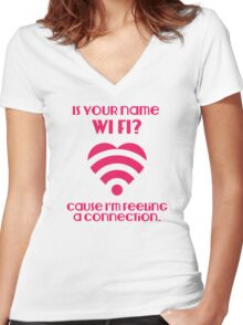 Wi Fi Valentines Women's Fitted V-Neck T-Shirt