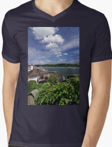 Dart Marina Viewed From Clarence Hill Road, Dartmouth, Devon, UK Mens V-Neck T-Shirt