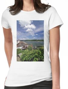 Dart Marina Viewed From Clarence Hill Road, Dartmouth, Devon, UK Womens Fitted T-Shirt