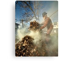 Old farmer burning dead leaves Metal Print