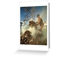 Old farmer burning dead leaves Greeting Card