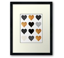 Gold, black, white hearts Framed Print