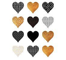 Gold, black, white hearts Photographic Print