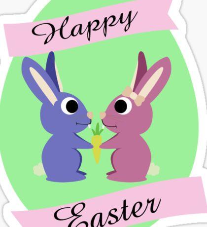 Happy Easter Cute Bunnies Sticker