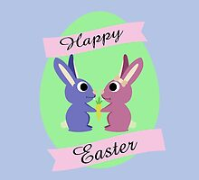 Happy Easter Cute Bunnies by Eggtooth