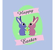 Happy Easter Cute Bunnies Photographic Print