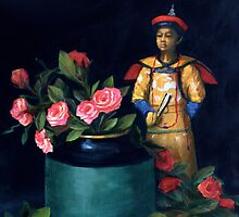 Chinese Figure with Roses by Sue Cervenka