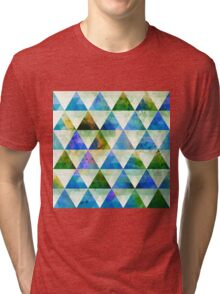 Modern Blue & Green Geometric Triangle Design Tri-blend T-Shirt