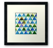 Modern Blue & Green Geometric Triangle Design Framed Print