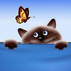 Cat & Butterfly by lydiasart