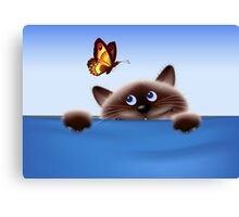 Cat & Butterfly Canvas Print