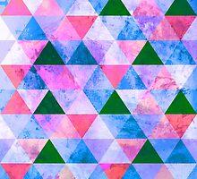 Modern Pink, Blue & Green Geometric Design by Groovyfinds